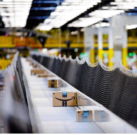 Amazon Fulfilment Centre packages on a conveyer